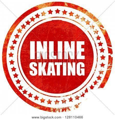 inline skating, red grunge stamp on solid background