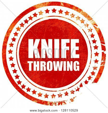 knife throwing, red grunge stamp on solid background