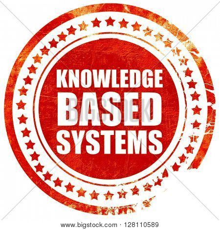 knowledge based systems, red grunge stamp on solid background