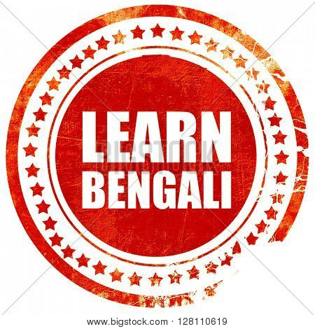learn bengali, red grunge stamp on solid background