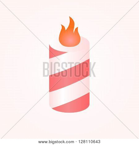 Colorful birthday candles whit flame. Vector illustration.