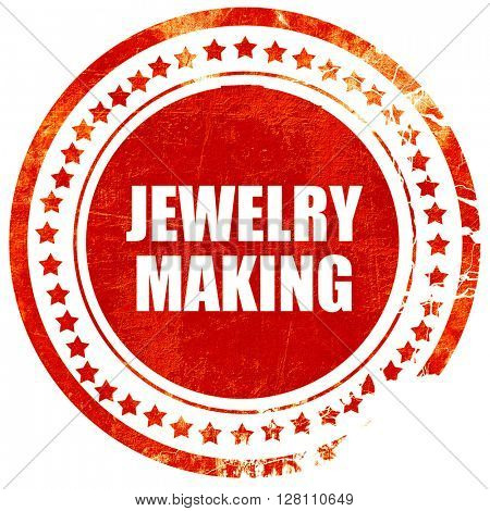 jewelry making, red grunge stamp on solid background