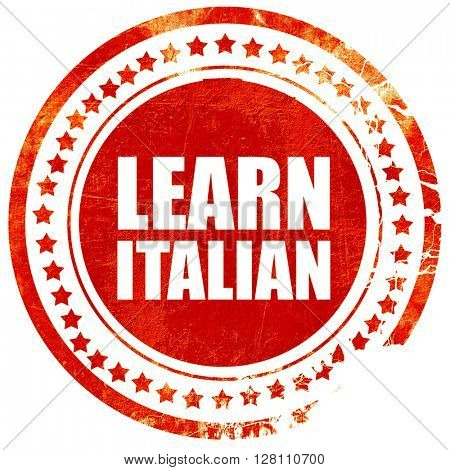 learn italian, red grunge stamp on solid background