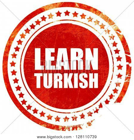 learn turkish, red grunge stamp on solid background