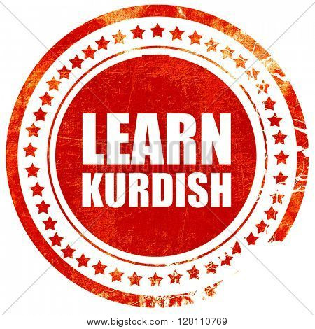 learn kurdish, red grunge stamp on solid background