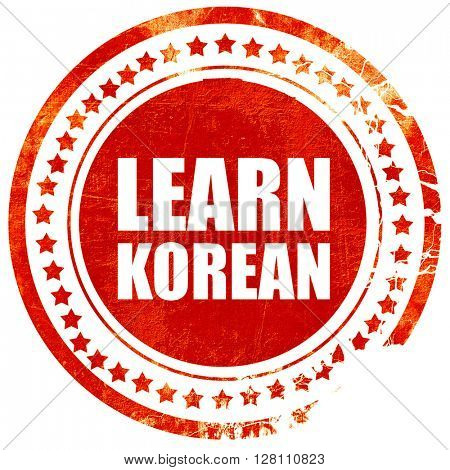 learn korean, red grunge stamp on solid background