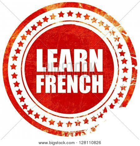 learn french, red grunge stamp on solid background