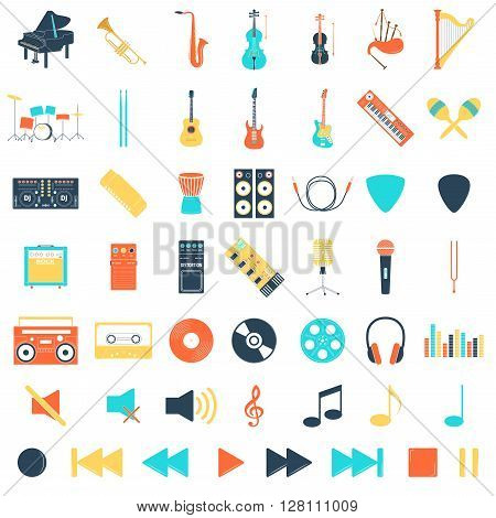 Musical instrument set, flat syle, vector illustration