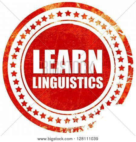 learn linguistics, red grunge stamp on solid background