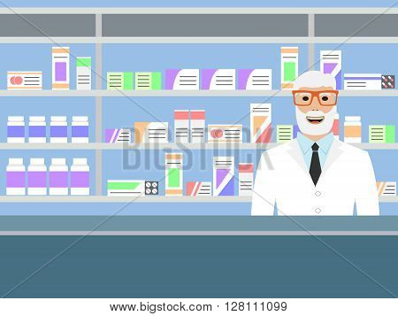 Old man pharmacist with beard standing near shelves with medications, vector illustration