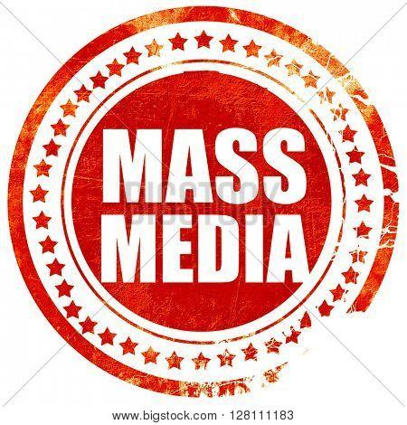 mass media, red grunge stamp on solid background