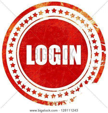 login, red grunge stamp on solid background