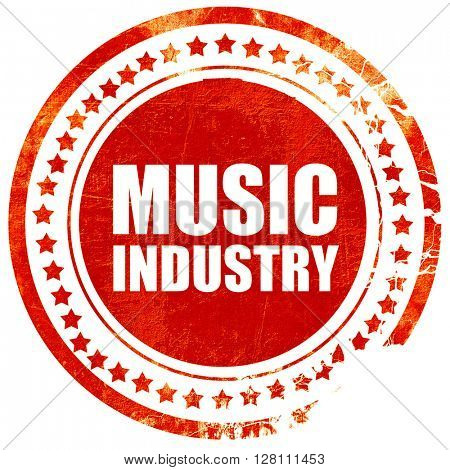 music industry, red grunge stamp on solid background
