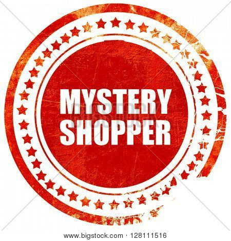 mystery shopper, red grunge stamp on solid background
