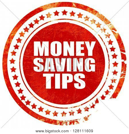 money saving tips, red grunge stamp on solid background