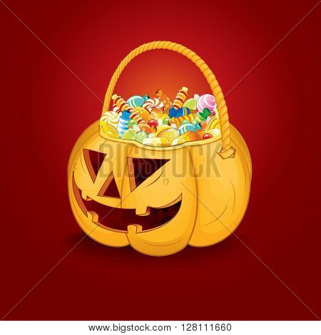Halloween Pumpkin Bucket with Candy and Sweets. Vector Ready for Your Text and Design.