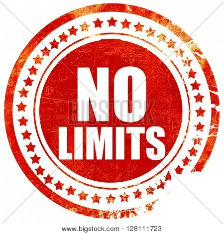 no limits, red grunge stamp on solid background