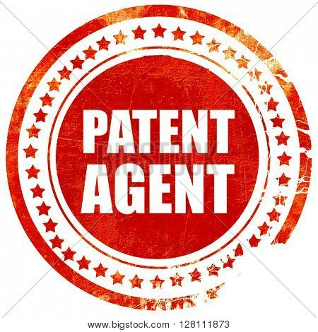 patent agent, red grunge stamp on solid background