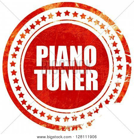 piano tuner, red grunge stamp on solid background
