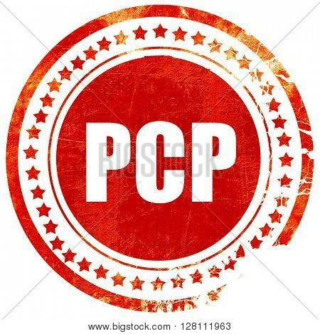 pcp, red grunge stamp on solid background