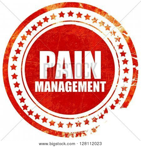 pain management, red grunge stamp on solid background