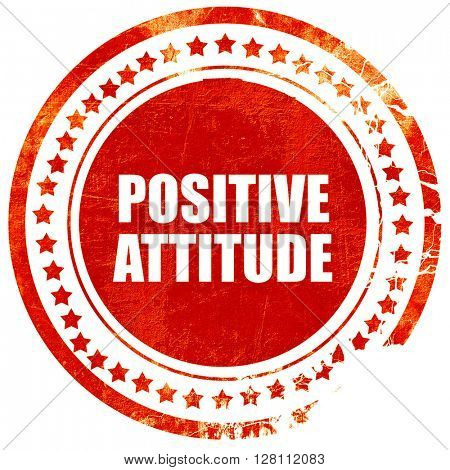 positive attitude, red grunge stamp on solid background