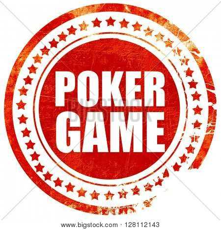 poker game, red grunge stamp on solid background