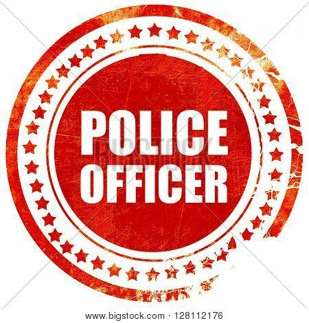 police officer, red grunge stamp on solid background