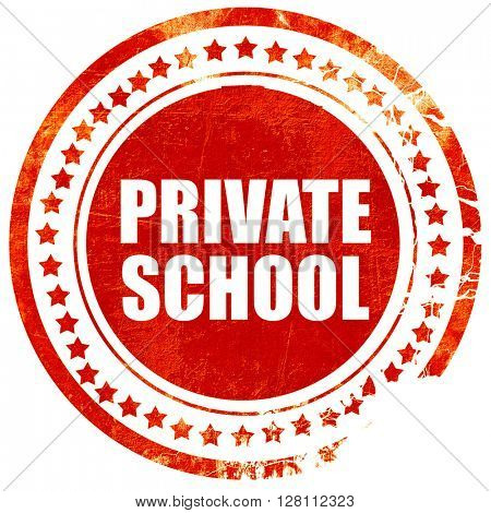 private school, red grunge stamp on solid background