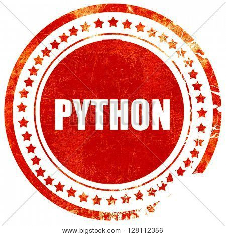 python computer language, red grunge stamp on solid background