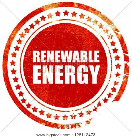 renewable energy, red grunge stamp on solid background