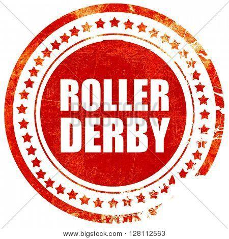 roller derby, red grunge stamp on solid background