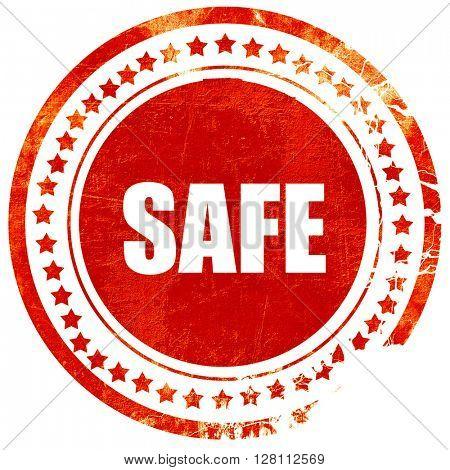 safe, red grunge stamp on solid background