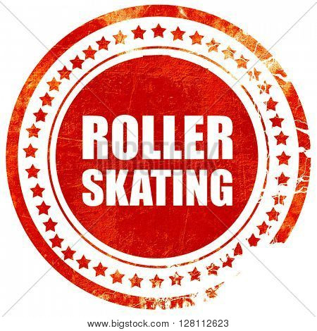 roller skating, red grunge stamp on solid background