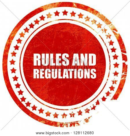 rules and regulations, red grunge stamp on solid background
