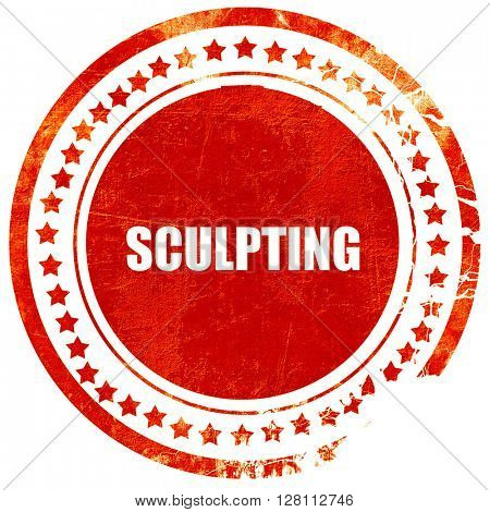 sculpting, red grunge stamp on solid background
