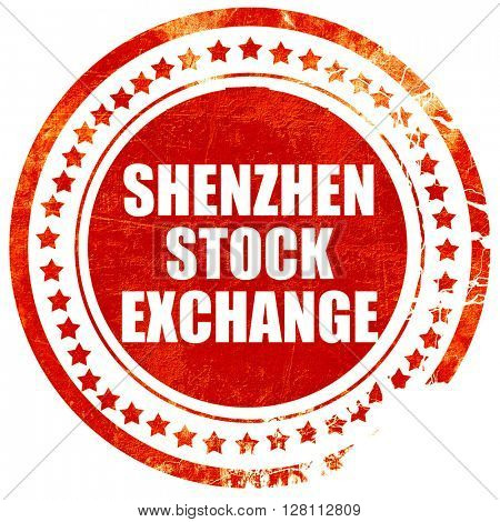 shenzhen stock exchange, red grunge stamp on solid background