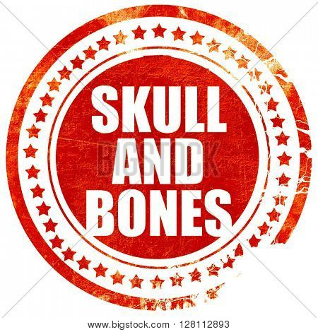 skull and bones, red grunge stamp on solid background