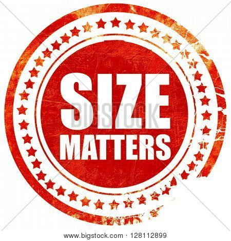 size matters, red grunge stamp on solid background