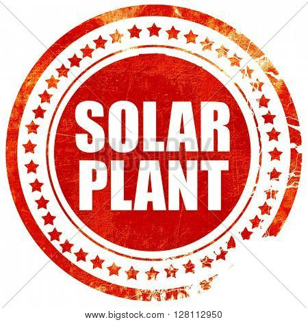 solar plant, red grunge stamp on solid background