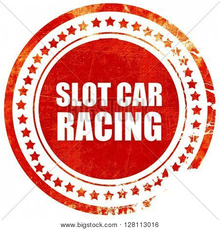 slot car racing, red grunge stamp on solid background