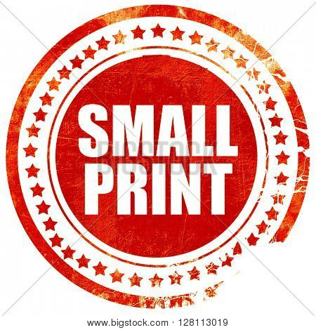 small print, red grunge stamp on solid background