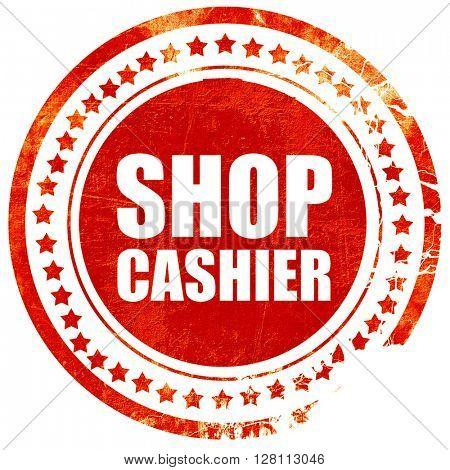 shop cashier, red grunge stamp on solid background