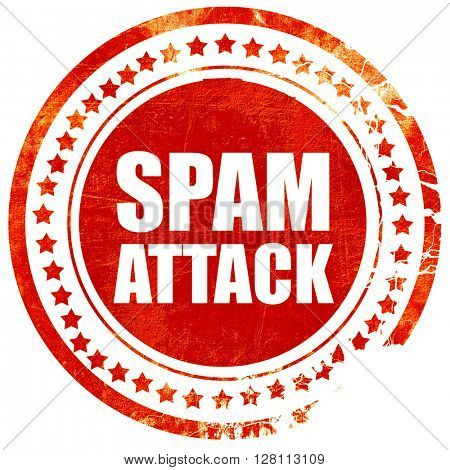 spam attack, red grunge stamp on solid background