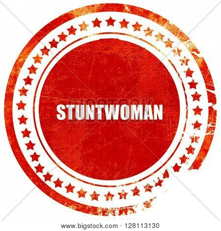 stuntwoman, red grunge stamp on solid background