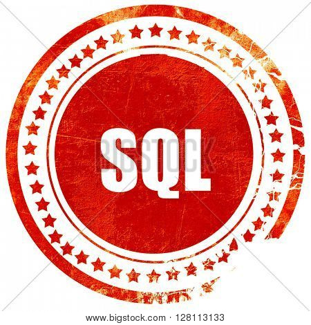 sql, red grunge stamp on solid background