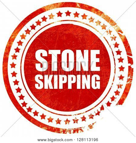 stone skipping, red grunge stamp on solid background