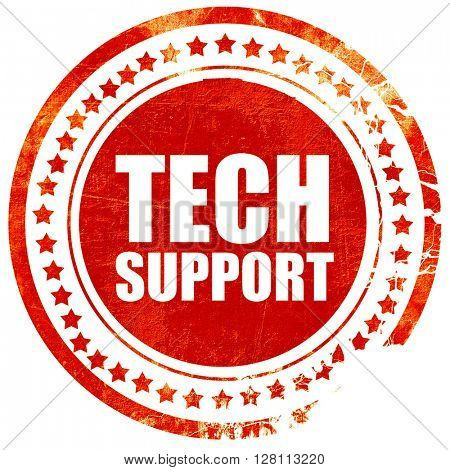 tech support, red grunge stamp on solid background