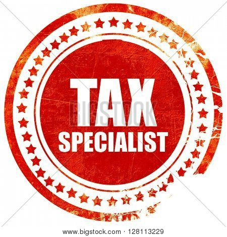 tax specialist, red grunge stamp on solid background