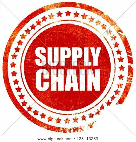 supply chain, red grunge stamp on solid background